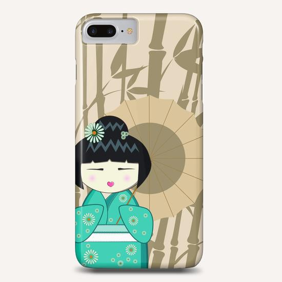 Brown umbrella kokeshi Phone Case by PIEL Design