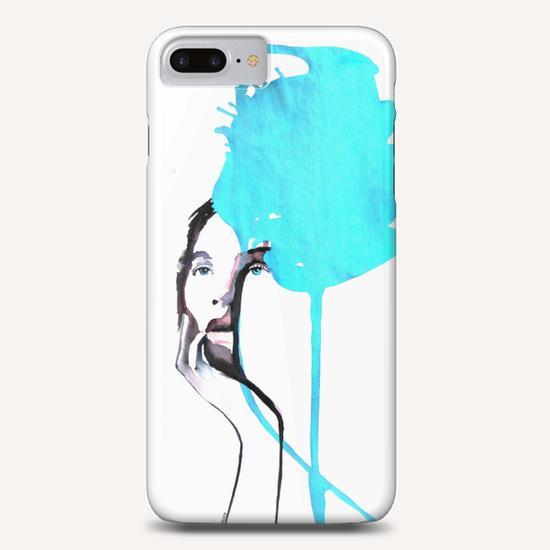 """Jolie Jeune femme bleue"" Phone Case by Virginie Rahem Ancey"