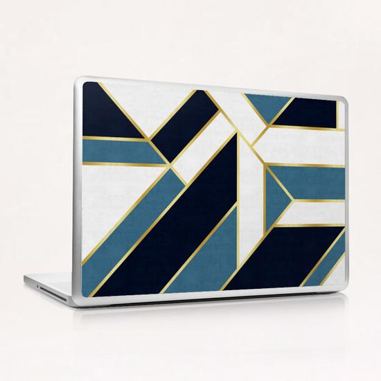 Blue and gold modern art Laptop & iPad Skin by Vitor Costa