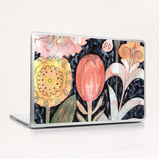 Mixed Flowers with Tulip on Black  Laptop & iPad Skin by Heidi Capitaine