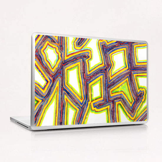 Outlined Fancy White Shapes Pattern  Laptop & iPad Skin by Heidi Capitaine