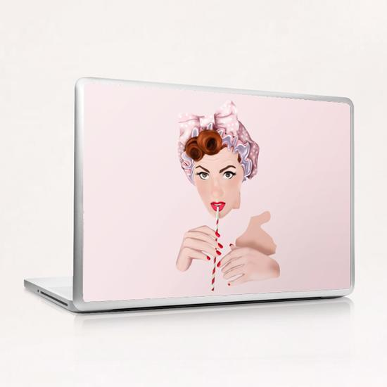 Girl pin up pink Laptop & iPad Skin by mmartabc