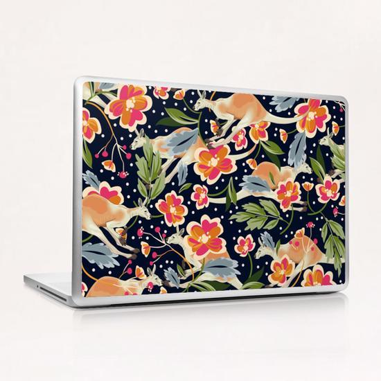 Pattern flowers and kangaroo Laptop & iPad Skin by mmartabc