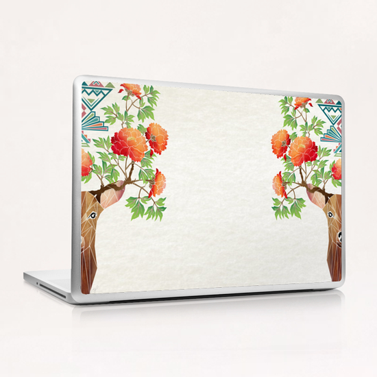 deer flowers Laptop & iPad Skin by Manoou