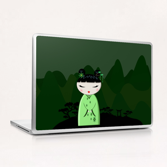 Green Kokeshi Laptop & iPad Skin by PIEL Design