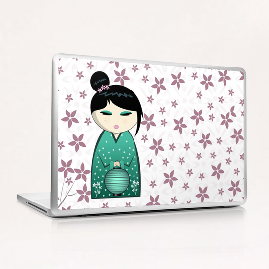 Pink flower kokeshi Laptop & iPad Skin by PIEL Design
