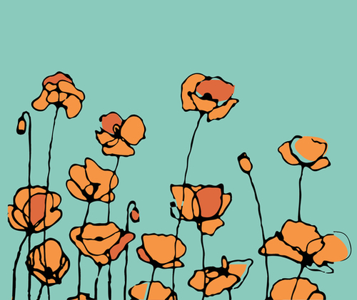American Poppies 1 Mural by Vic Storia