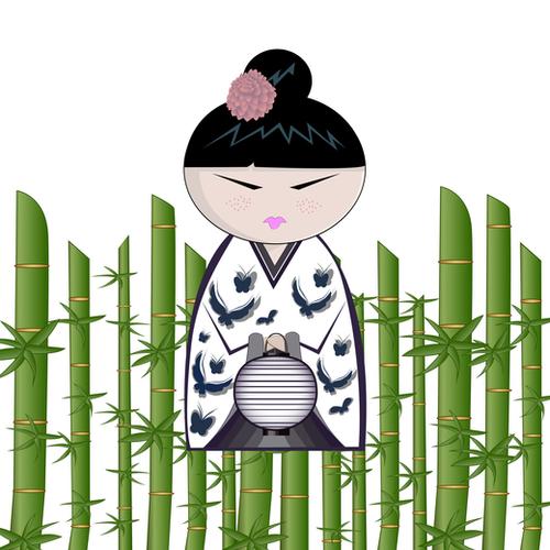 Bamboo kokeshi Mural by PIEL Design