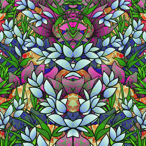 Floral Abstract Artwork G464 Mural by MedusArt