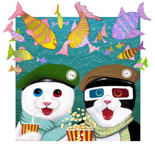 3D cats Mural by Tummeow