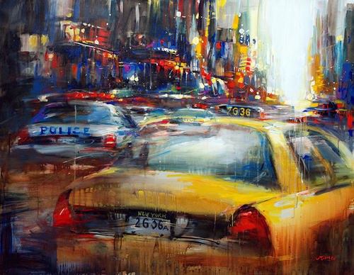 NY cops and taxi Mural by Vantame