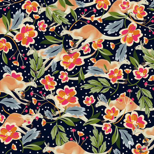 Pattern flowers and kangaroo Mural by mmartabc