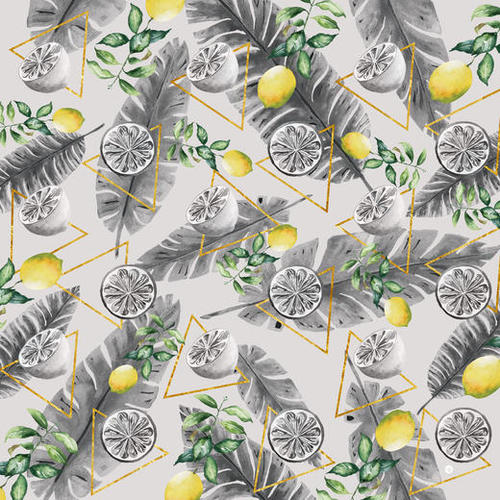 Pattern triangles with lemons Mural by mmartabc