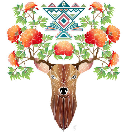 deer flowers Mural by Manoou