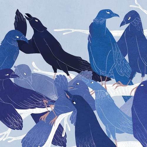 les oiseaux bleus Mural by Florehenocque