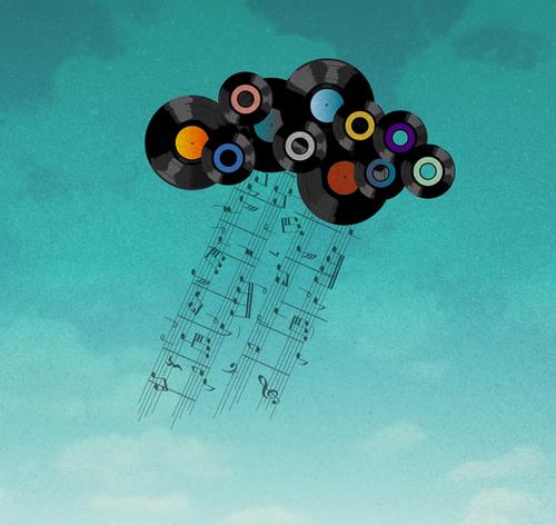 Music Cloud Mural by Alex Xela