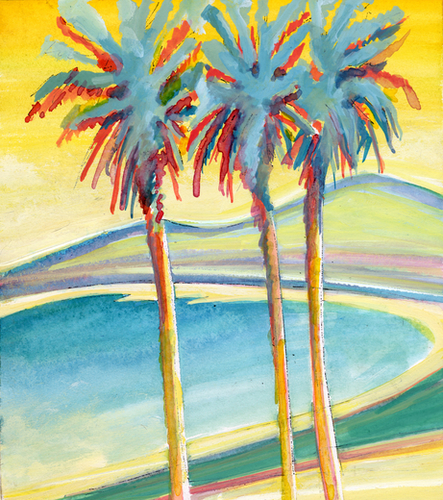 Palm Tree on the French Riviera Mural by Georgio Fabrello