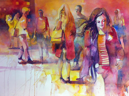 Walking in the square Mural by andreuccettiart