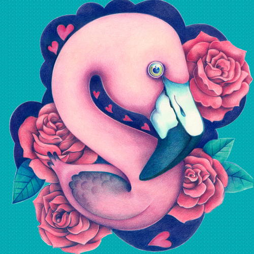 Heart Queen Flamingo Mural by Anna Cannuzz Canavesi