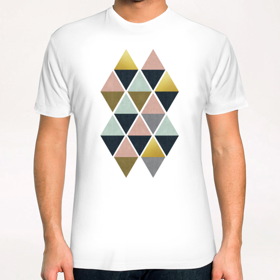 Colorful and golden triangles T-Shirt by Vitor Costa