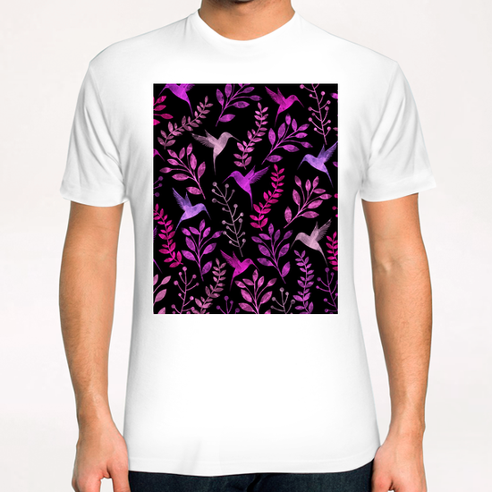 Watercolor Floral and Bird  T-Shirt by Amir Faysal