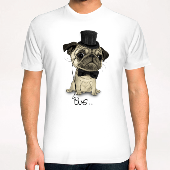 Pug; Gentle Pug T-Shirt by Barruf