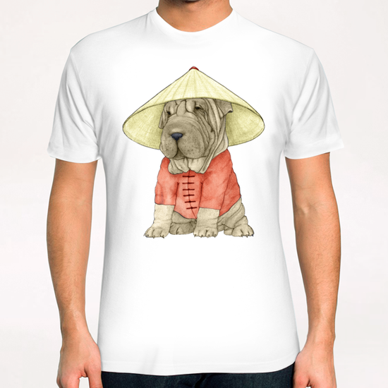 Shar Pei With The Great Wall T-Shirt by Barruf