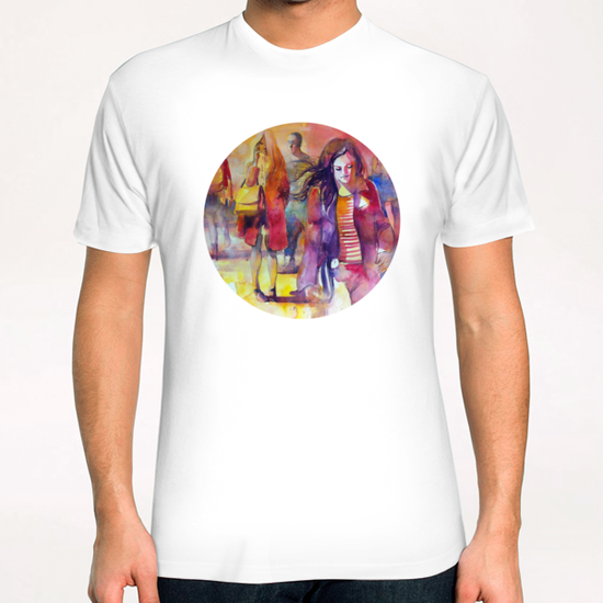 Walking in the square T-Shirt by andreuccettiart
